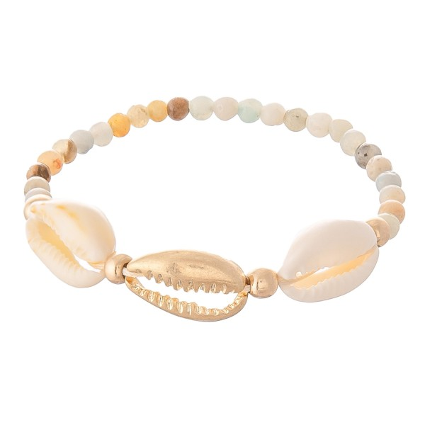 "Semi Precious Beaded Puka Shell Stretch Bracelet.  - Approximately 3"" in diameter - Fits up to a 7"" wrist"