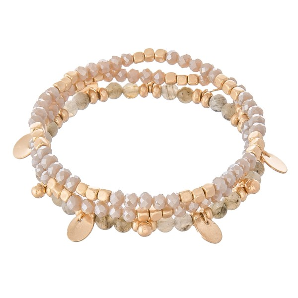 "Semi Precious Beaded Stretch Bracelet Set Featuring Gold Charm Accents.  - 3pcs per set - Approximately 3"" in diameter - Fits up to a 7"" wrist"