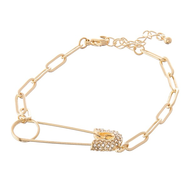 """Rhinestone Safety Pin Chain Link Bracelet.  - Safety Pin 1.5""""  - Approximately 3"""" in diameter - 1"""" Adjustable Extender"""