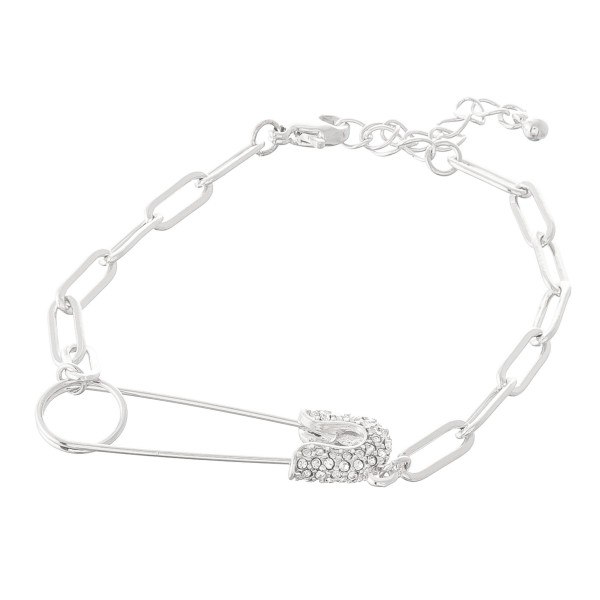 "Rhinestone Safety Pin Chain Link Bracelet.  - Safety Pin 1.5""  - Approximately 3"" in diameter - 1"" Adjustable Extender"