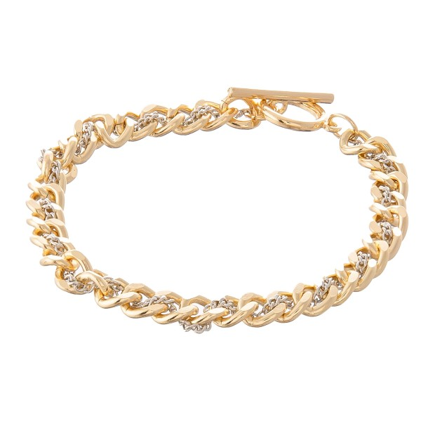"Two Tone Doubled Chain Link Toggle Bar Bracelet.  - Approximately 3"" in Diameter - Fits up to a 6"" wrist"