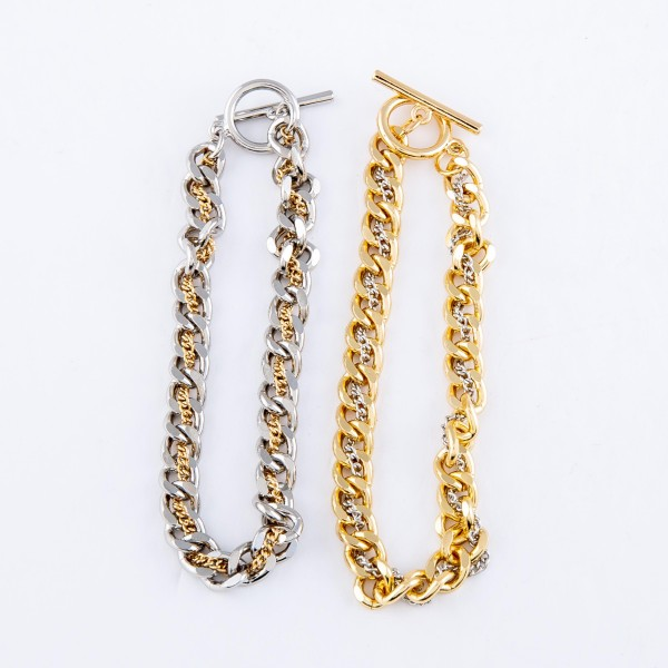 """Two Tone Doubled Chain Link Toggle Bar Bracelet.  - Approximately 3"""" in Diameter - Fits up to a 6"""" wrist"""