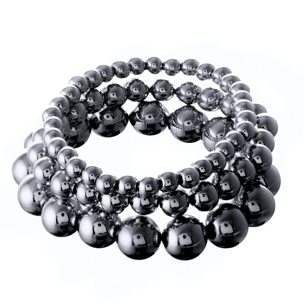 """Ball Beaded Stackable Stretch Bracelet.  - Bead Sizes: 4mm, 7mm & 11mm - 3pcs per set - Approximately 3"""" in diameter - Fits up to a 7"""" wrist"""