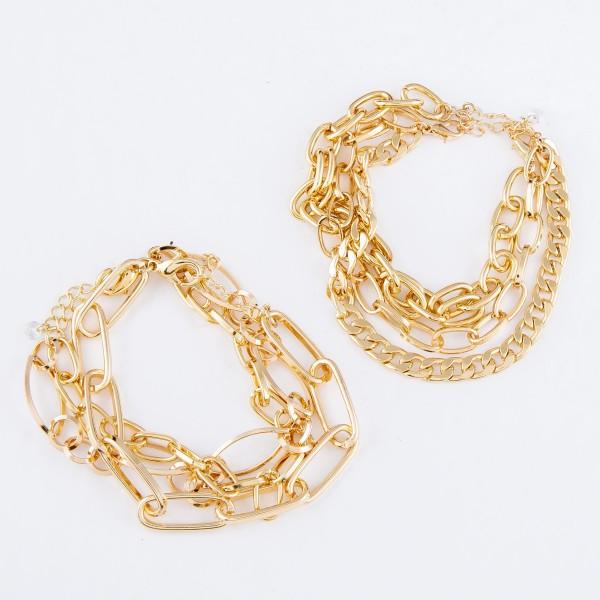 """Curb Chain Link Bracelet Set in Gold.  - 2 Bracelets Per Set - Approximately 3"""" in Diameter - 1"""" Adjustable Extender"""