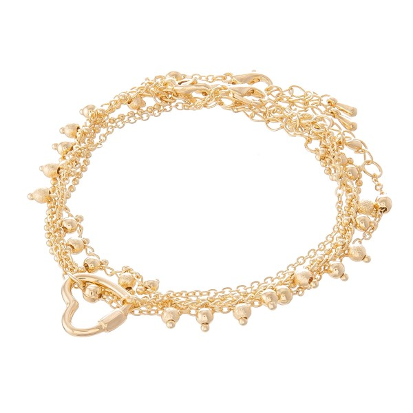 """Multi-Strand Heart Carabiner Chain Link Bracelet Set in Gold.  - 4 Piece Bracelet Set - Can be Worn as Singles or Set - Approximately 3"""" in Diameter - 2"""" Adjustable Extender - Fits up to an 8"""" Wrist"""