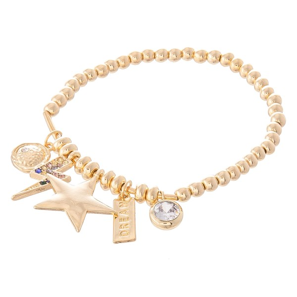 "Beaded Star Charm Stretch Bracelet Featuring Lightning Bolt and Rhinestone Details.  - Charms 1cm - .5"" - Approximately 3"" in Diameter - Fits up to a 7"" Wrist"