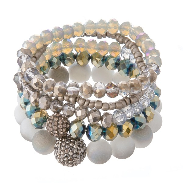"""Acrylic Faceted Beaded Rhinestone Stretch Statement Bracelet Set.  - 5pcs per set - Approximately 3"""" in Diameter - Fits up to a 7"""" Wrist - Bead Size: 3mm, 6mm & 11mm"""
