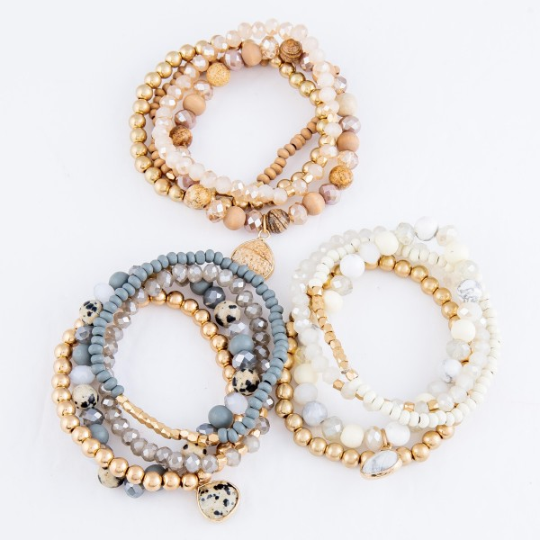 "Semi Precious Beaded Natural Stone Charm Stretch Bracelet Set.  - 4pcs per set - Approximately 3"" in diameter - Fits up to a 7"" wrist"