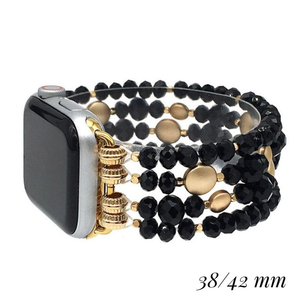 "Interchangeable Faceted Beaded Stretch Watch Band/Bracelet Featuring Gold Accents for Smart Watches Only.  - Fits 38-42mm Watch Face - Approximately 3"" in Diameter un-stretched - Fits up to a 7"" Wrist - Bead Size: 4mm & 8mm"