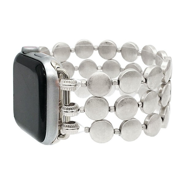 "Interchangeable Steel Disc Beaded Stretch Watch Band/Bracelet for Smart Watches Only.   - Fits 38-42mm Watch Face - Approximately 3"" in Diameter  - Fits up to a 7"" Wrist - Bead Size: 8mm"
