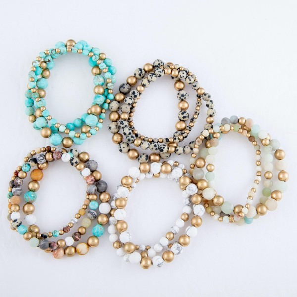 """Natural Stone Beaded Stretch Bracelet Set in Gold.  - 3pcs per set - Approximately 3"""" in Diameter  - Fits up to a 7"""" Wrist - Bead Size: 2mm, 6mm & 8mm"""