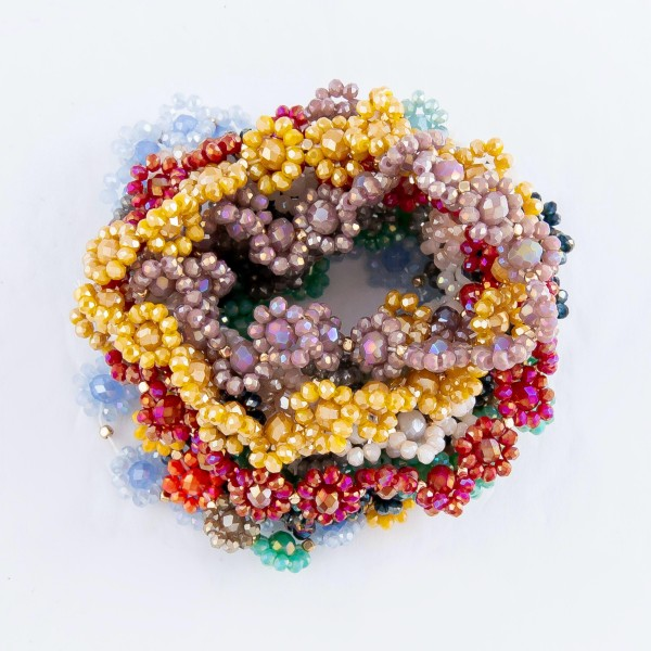 "Faceted Flower Beaded Stretch Bracelet.  - Approximately 3"" in Diameter - Fits up to a 7"" wrist"