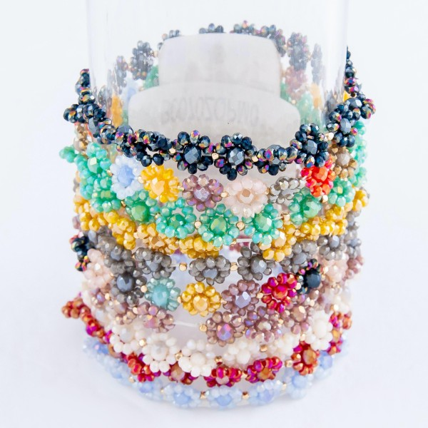 """Faceted Flower Beaded Stretch Bracelet.  - Approximately 3"""" in Diameter - Fits up to a 7"""" wrist"""