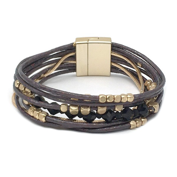 "Metallic Cord Beaded Magnetic Bracelet in Gold.  - Magnetic Closure - Approximately 3"" in Diameter - Fits up to a 6"" Wrist"