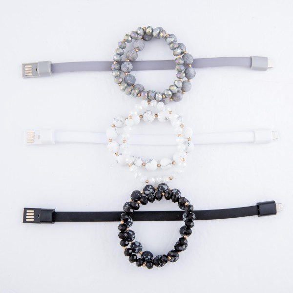 """Natural Stone Beaded Rubber Magnetic Bracelet Set Featuring iPhone USB Charger (Rubber Band Strand).  - 3pcs per set - Approximately 3"""" in Diameter un-stretched  - Fits up to a 7"""" Wrist - iPhone USB Charger Band"""