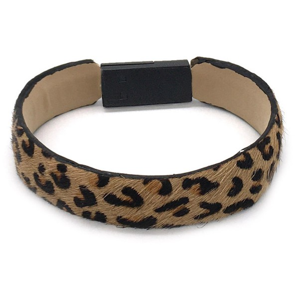 Wholesale faux Leather Leopard Print Lightning Cable USB Charger Bracelet Lightn