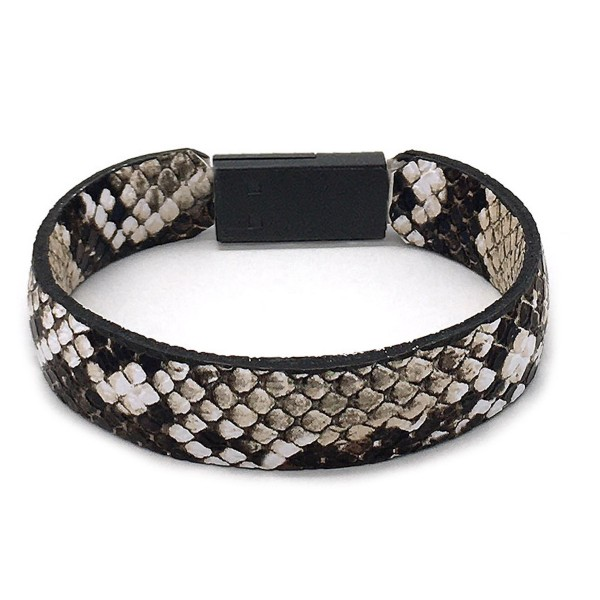 """Faux Leather Snakeskin Lightning Cable USB Charger Bracelet.  - Features: Lightning Cable USB Plug-In Closure - Approximately 3"""" in Diameter  - Fits up to a 6"""" Wrist"""