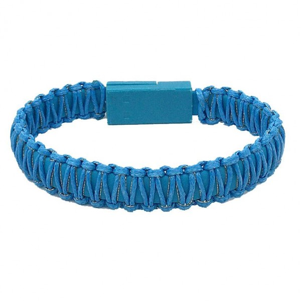 "Portable Wax Cord Wrapped USB Bracelet Featuring USB Charger Plug In Closure.  - USB Charger Plug In Closure - Approximately 3"" in Diameter - Fits up to a 6"" Wrist"