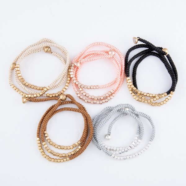 """Paracord Wrap Bracelet Featuring Metal Bead Details & Magnetic Closure.  - Adjustable Magnetic Closure - Approximately 3"""" in Diameter - Fits up to an 8"""" Wrist"""