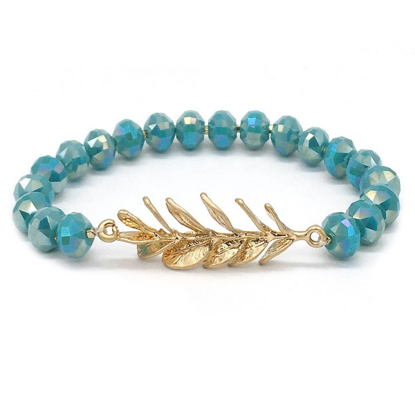 "Faceted Beaded Leaf Fringe Stretch Bracelet in Gold.  - Leaf Focal 1.5""  - Approximately 3"" in Diameter - Fits up to a 7"" Wrist"