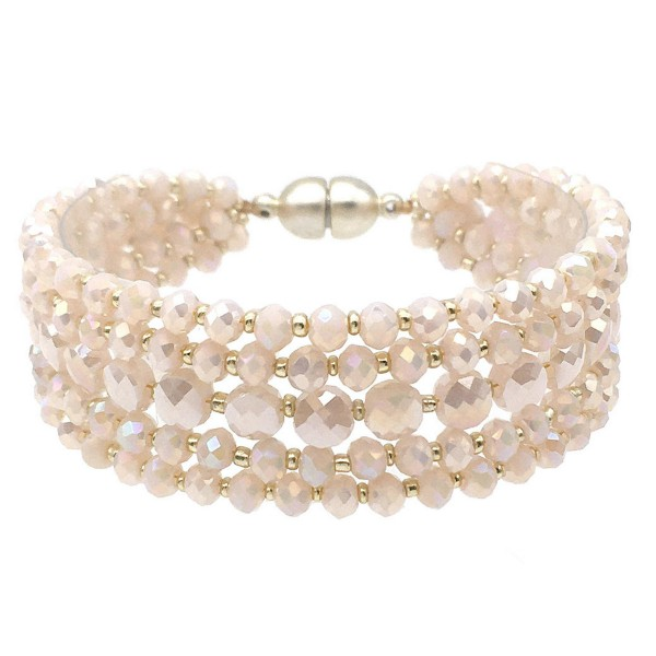 """Faceted Beaded Multi-Strand Magnetic Bracelet.  - Magnetic Closure - Approximately 3"""" in Diameter - Fits up to a 6"""" Wrist"""