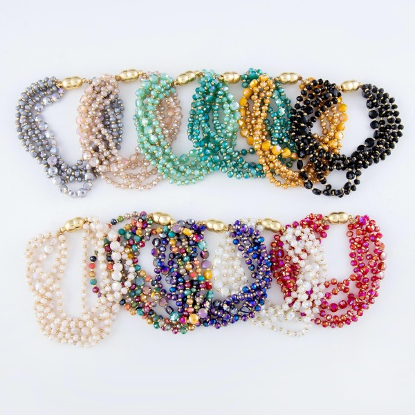 "Faceted Beaded Multi-Strand Magnetic Bracelet.  - Magnetic Closure - Approximately 3"" in Diameter - Fits up to a 6"" Wrist"