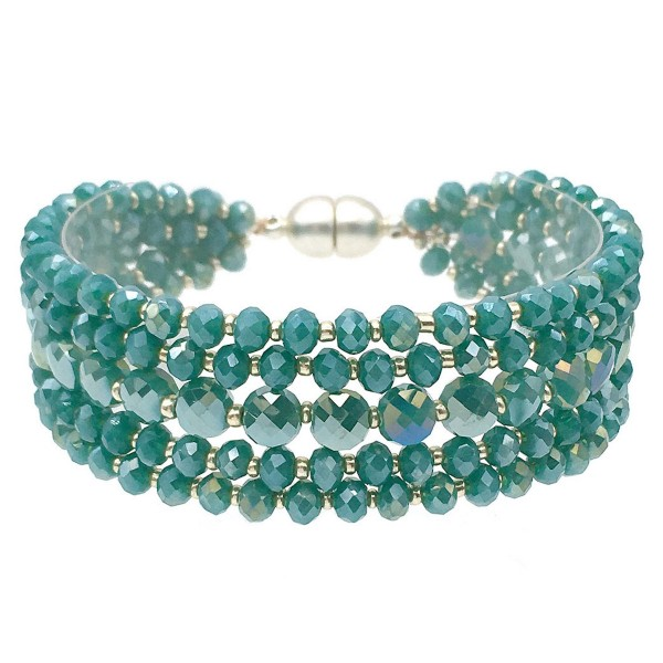 Wholesale faceted Beaded Multi Strand Magnetic Bracelet Magnetic Closure Diamete