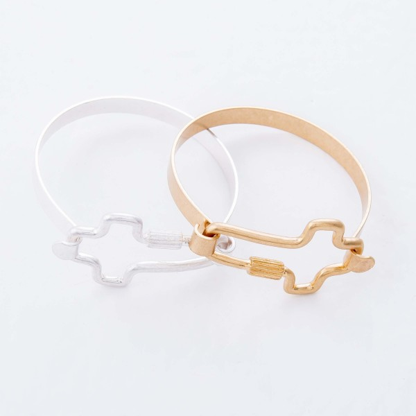 "Cross Carabiner Bangle Bracelet.  - Cross Focal 1.5""  - Approximately 2.5"" in Diameter - Fits up to a 6"" Wrist"
