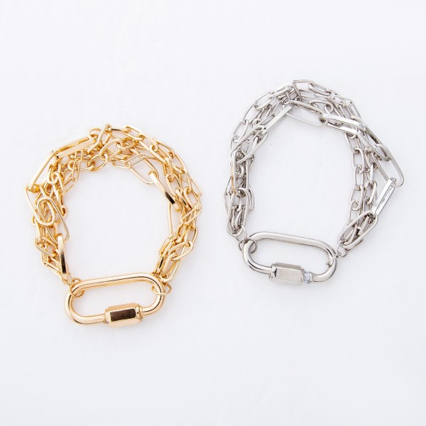 """Chain Link Layered Carabiner Bracelet Featuring Screw Lock Closure.  - Carabiner Focal 1.25""""  - Screw Lock Closure - Approximately 3"""" in Diameter - Fits up to a 6"""" Wrist"""
