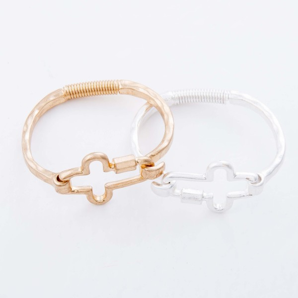 "Carabiner Cross Spring Hinge Bangle Bracelet.  - Cross Focal 1.5""  - Approximately 3"" in Diameter - Fits up to a 6"" Wrist"