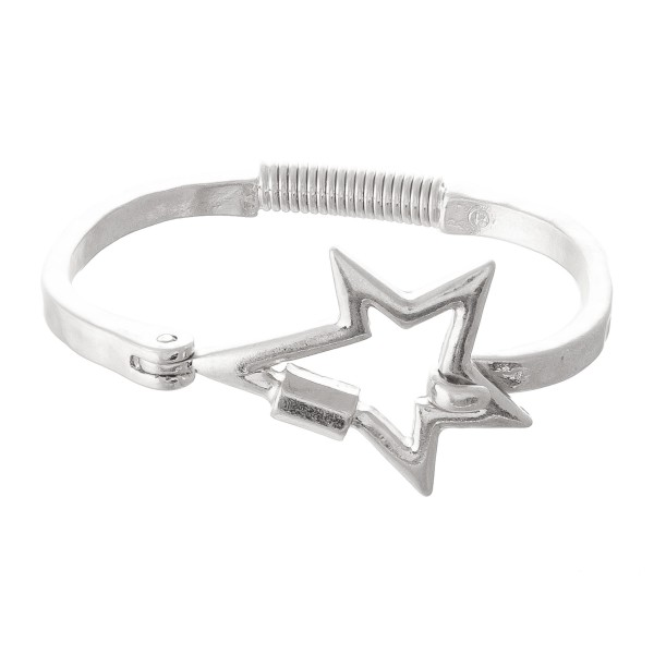 "Star Carabiner Spring Hinge Bangle Bracelet.  - Focal 1.5""  - Approximately 3"" in Diameter - Fits up to a 6"" Wrist"