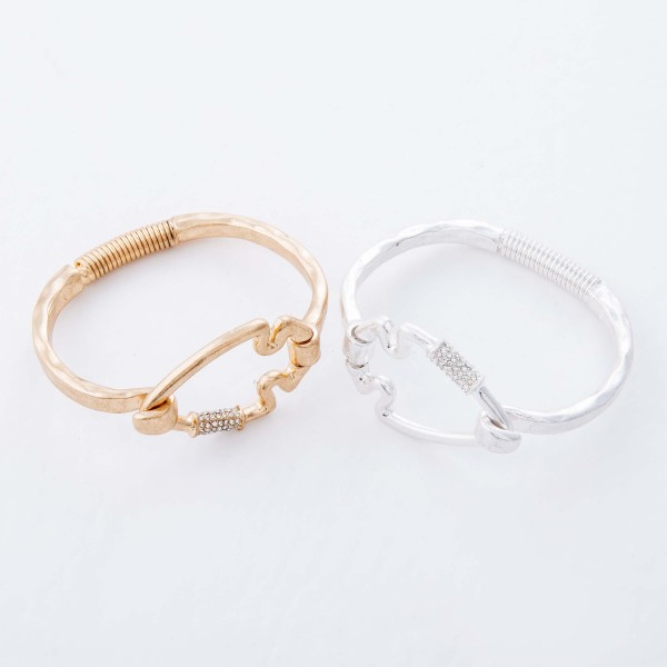 "Rhinestone Carabiner Arrow Spring Hinge Bangle Bracelet.  - Focal 1.5""  - Approximately 3"" in Diameter - Fits up to a 6"" Wrist"