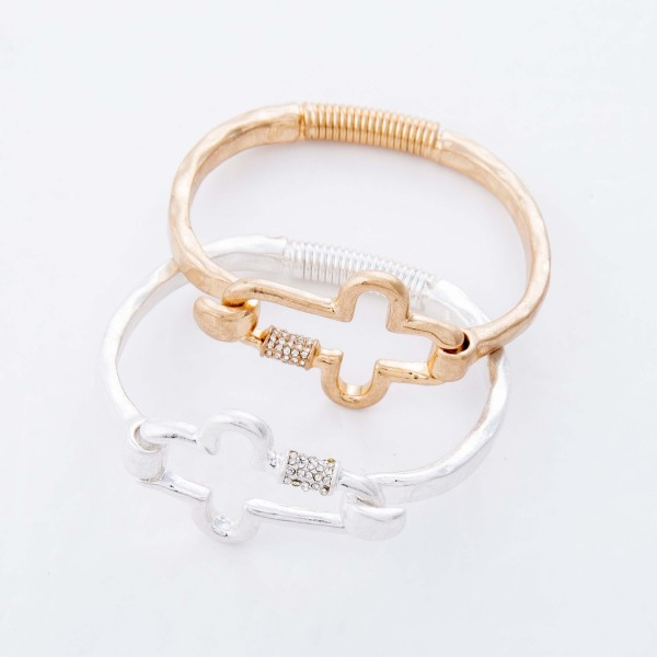 """Rhinestone Carabiner Cross Spring Hinge Bangle Bracelet.  - Cross Focal 1.5"""" - Approximately 3"""" in Diameter - Fits up to a 6"""" Wrist"""