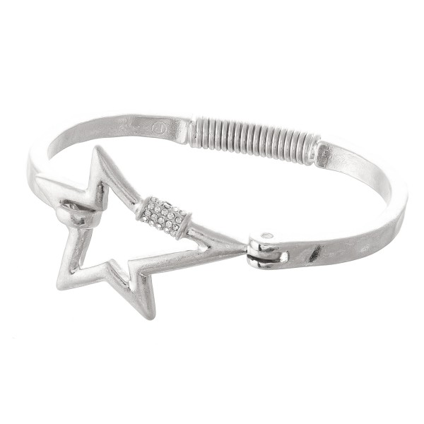 "Rhinestone Carabiner Star Spring Hinge Bangle Bracelet.  - Focal 1.5""  - Approximately 3"" in Diameter - Fits up to a 6"" Wrist"