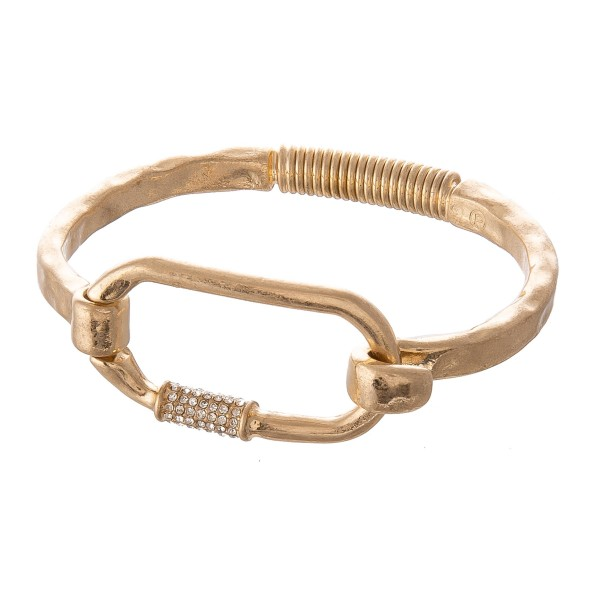 "Rhinestone Carabiner Spring Hinge Bangle Bracelet.  - Focal 1.5""  - Approximately 3"" in Diameter - Fits up to a 6"" Wrist"
