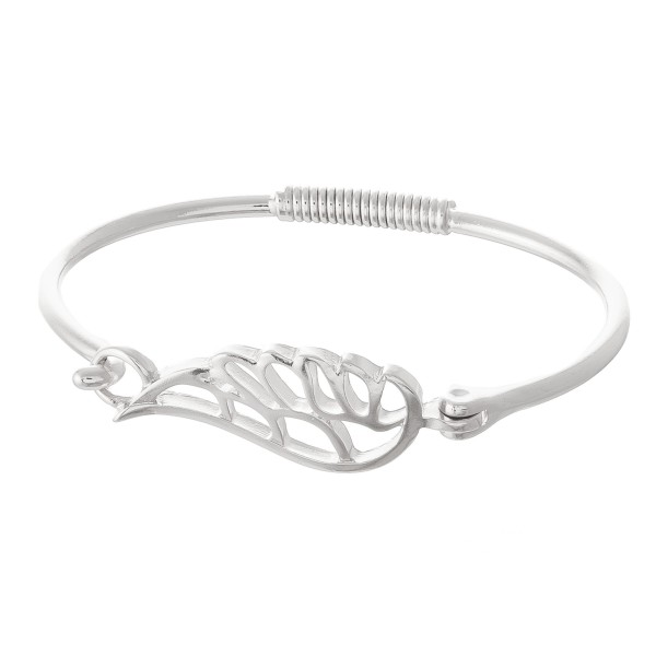 """Angel Wing Springy Hinge Bangle Bracelet.  - Wing Focal Approximately 1.5""""  - Approximately 3"""" in Diameter - Fits up to 6"""" Wrist"""