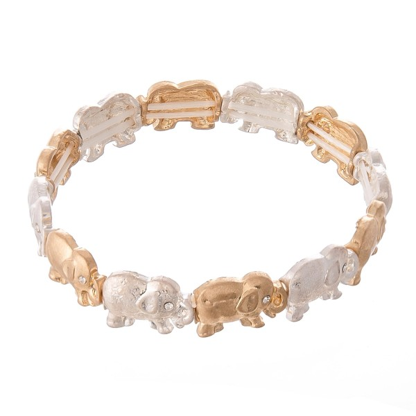 "Two Tone Elephant Stretch Bracelet Featuring Rhinestone Eye Details.  - Approximately 3"" in Diameter - Fits up to a 7"" wrist"