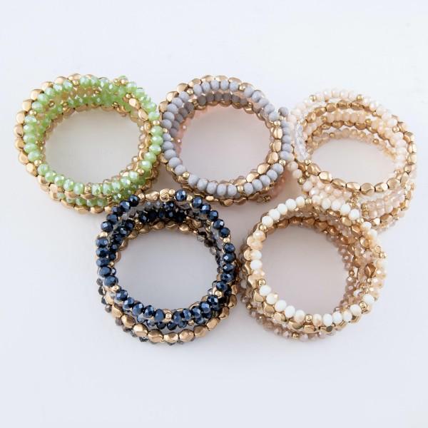 """Semi Precious Beaded Wrap Bracelet in Gold.  - Approximately 2.5"""" in Diameter"""