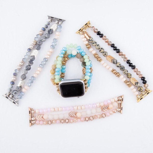"Interchangeable Semi Precious Beaded Arrow Stretch Watch Band/Bracelet for Smart Watches Only.  - Fits 38mm Watch Face - Approximately 3"" in Diameter un-stretched - Fits up to a 7"" Wrist"