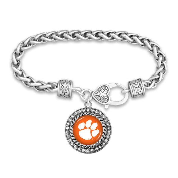 "Clemson Game Day Bracelet Featuring Rhinestone Accents.  - Rope Chain Style Bracelet - Rhinestone & Filigree Accents - Heart Lobster Clasp - Charm 1""  - Approximately 3' in Diameter - Fits up to 6"" Wrist"