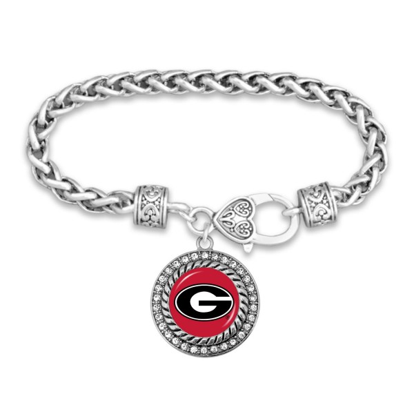 "Georgia Game Day Bracelet Featuring Rhinestone Accents.  - Rope Chain Style Bracelet - Rhinestone & Filigree Accents - Heart Lobster Clasp - Charm 1""  - Approximately 3' in Diameter - Fits up to 6"" Wrist"