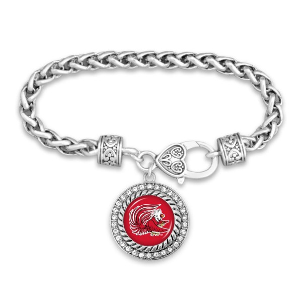 "Jacksonville State University Game Day Bracelet Featuring Rhinestone Accents.  - Rope Chain Style Bracelet - Rhinestone & Filigree Accents - Heart Lobster Clasp - Charm 1""  - Approximately 3' in Diameter - Fits up to 6"" Wrist"