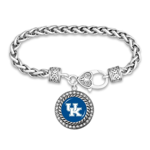 "Kentucky Game Day Bracelet Featuring Rhinestone Accents.  - Rope Chain Style Bracelet - Rhinestone & Filigree Accents - Heart Lobster Clasp - Charm 1""  - Approximately 3' in Diameter - Fits up to 6"" Wrist"
