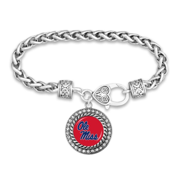 "Ole Miss Game Day Bracelet Featuring Rhinestone Accents.  - Rope Chain Style Bracelet - Rhinestone & Filigree Accents - Heart Lobster Clasp - Charm 1""  - Approximately 3' in Diameter - Fits up to 6"" Wrist"
