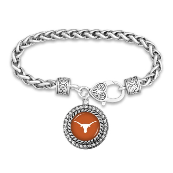 "Texas Longhorn Game Day Bracelet Featuring Rhinestone Accents.  - Rope Chain Style Bracelet - Rhinestone & Filigree Accents - Heart Lobster Clasp - Charm 1""  - Approximately 3' in Diameter - Fits up to 6"" Wrist"