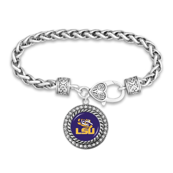 "LSU Game Day Bracelet Featuring Rhinestone Accents.  - Rope Chain Style Bracelet - Rhinestone & Filigree Accents - Heart Lobster Clasp - Charm 1""  - Approximately 3' in Diameter - Fits up to 6"" Wrist"