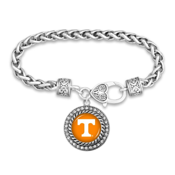 "Tennessee Game Day Bracelet Featuring Rhinestone Accents.  - Rope Chain Style Bracelet - Rhinestone & Filigree Accents - Heart Lobster Clasp - Charm 1""  - Approximately 3' in Diameter - Fits up to 6"" Wrist"