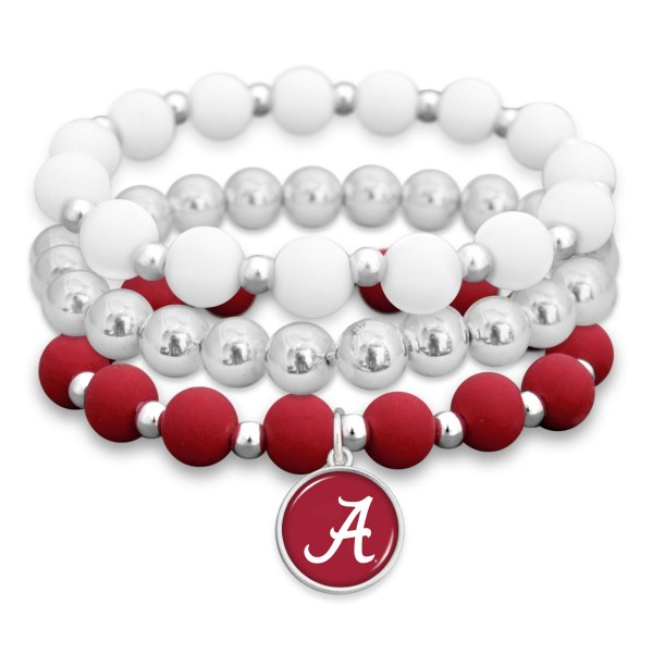"Alabama Rubber Beaded Game Day Stretch Bracelet Set.  - Charm 1""  - Bead Size: 9mm - Approximately 3"" in Diameter - Fits up to a 7"" Wrist"