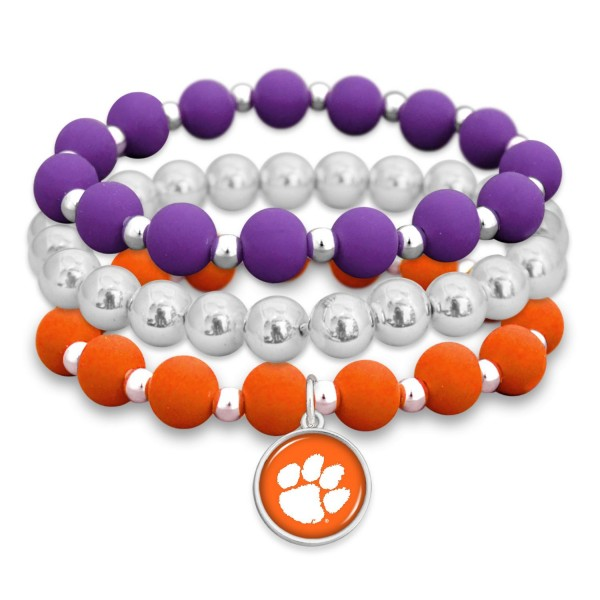 "Clemson Rubber Beaded Game Day Stretch Bracelet Set.  - Charm 1""  - Bead Size: 9mm - Approximately 3"" in Diameter - Fits up to a 7"" Wrist"