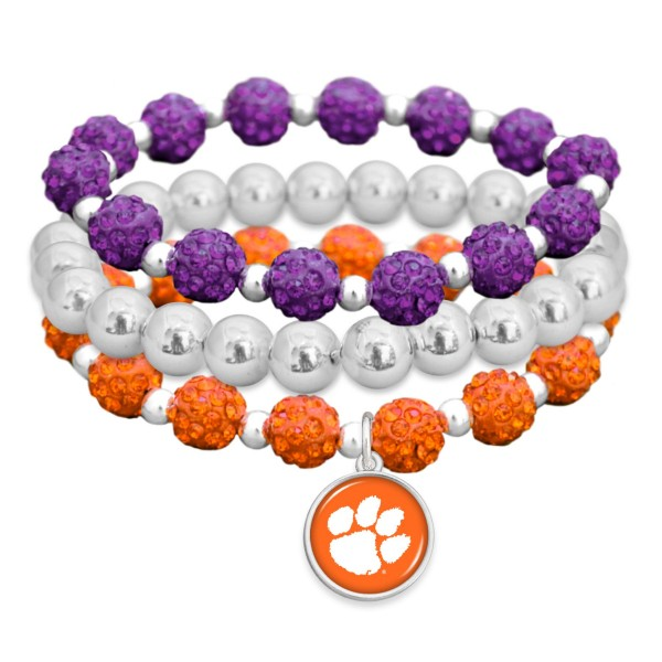 "Clemson Rhinestone Beaded Game Day Stretch Bracelet Set.  - 3pcs per set - Bead Size: 9mm - Charm 1""  - Approximately 3"" in Diameter - Fits up to a 7"" Wrist"